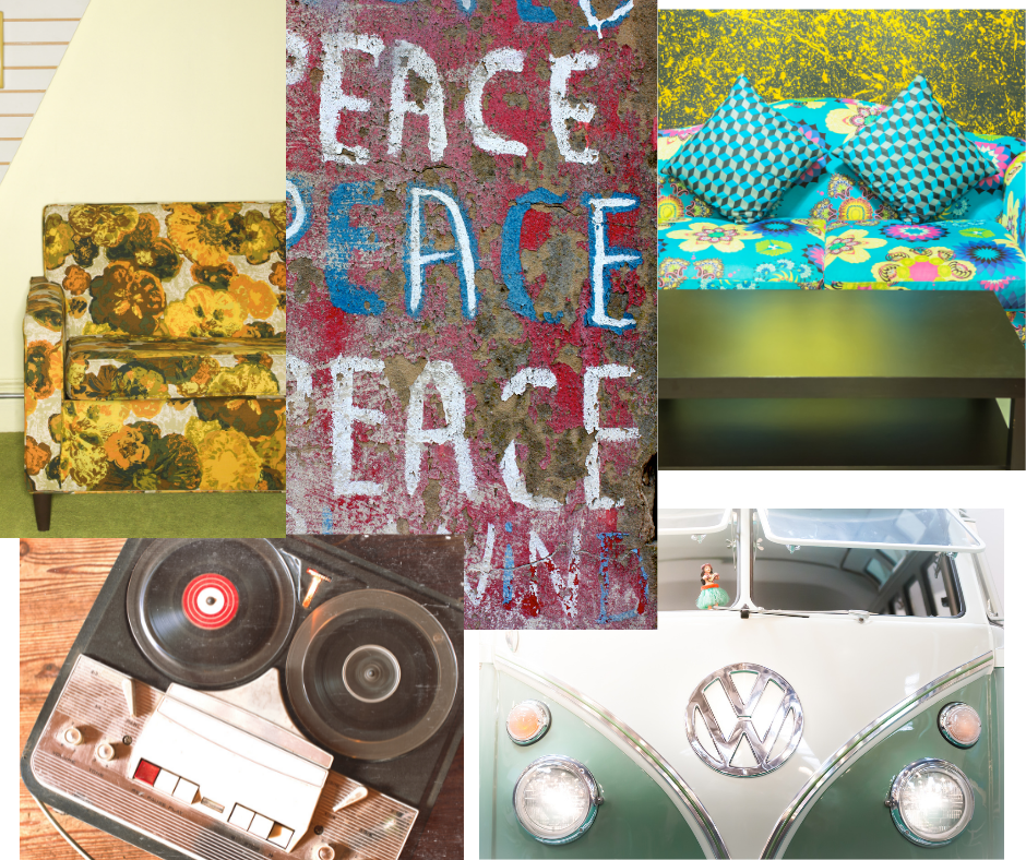 Images from the 1960s to get you in the mood for the 60s. Peace signs, VW van, tape recorder, floral printed couches.