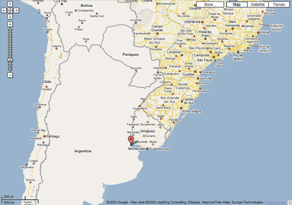 Chile Google Map on