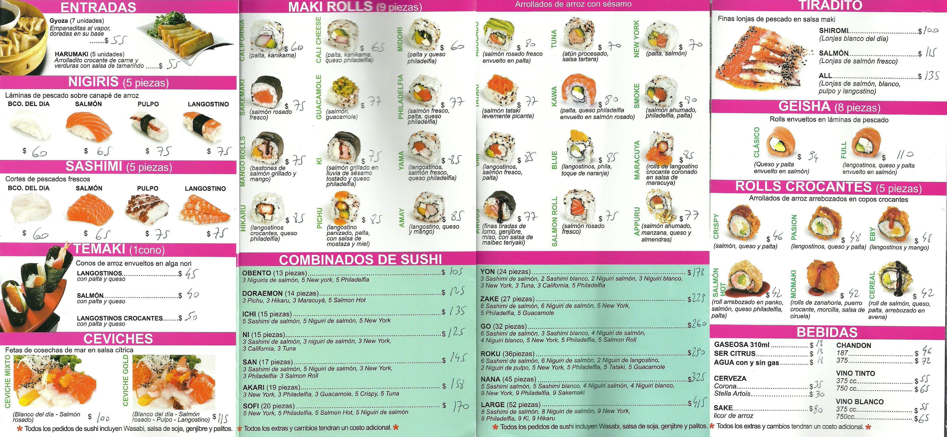 Oi Sushi Menu March 2014