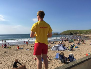 Lifeguard Kevin surveys the beach