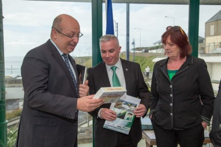 Tourism Officer Shane Smyth presents the ambassador with some Sea Salt sweets and an information pack about Bundoran. Pic CMP Productions — with Ambassade de France en Irlande at Discover Bundoran.