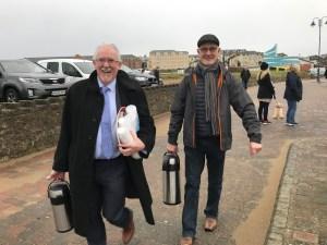 Jim Herrity and Joe Mc Nulty arrive with the warm refreshments