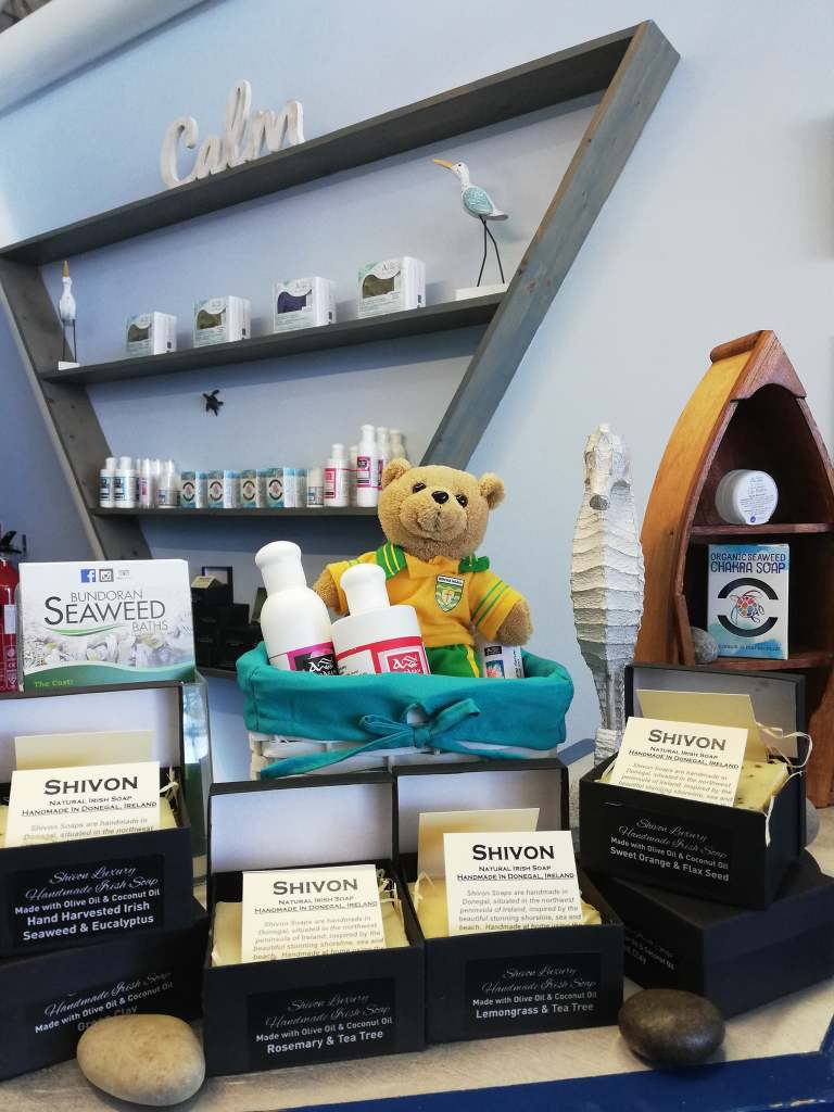picture shows Just some of the products available at Bundoran Seaweed Baths