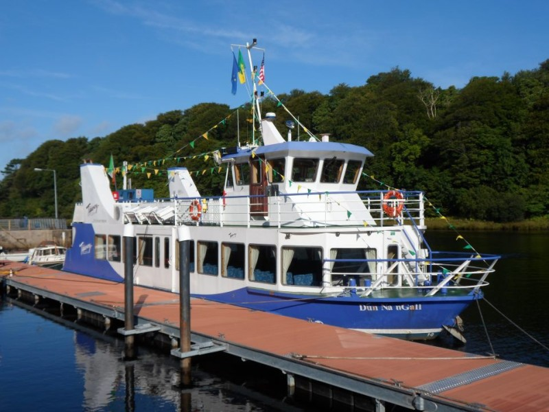 picture shows the Donegal Bay Waterbus docked at a jetty - tours from Bundoran