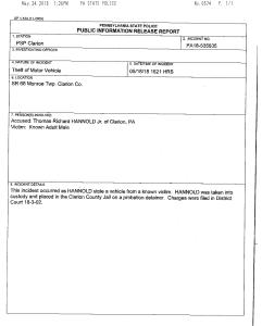 Monroe Twp. theft of a vehicle