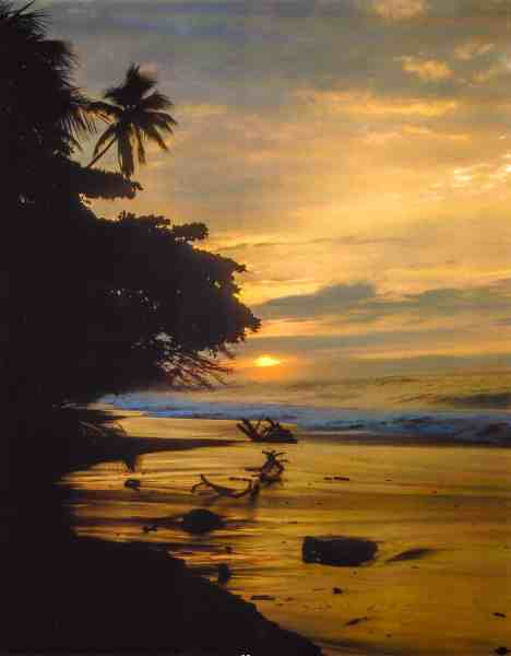 Sunset on the Beach in Playa Tambor, Costa Rica