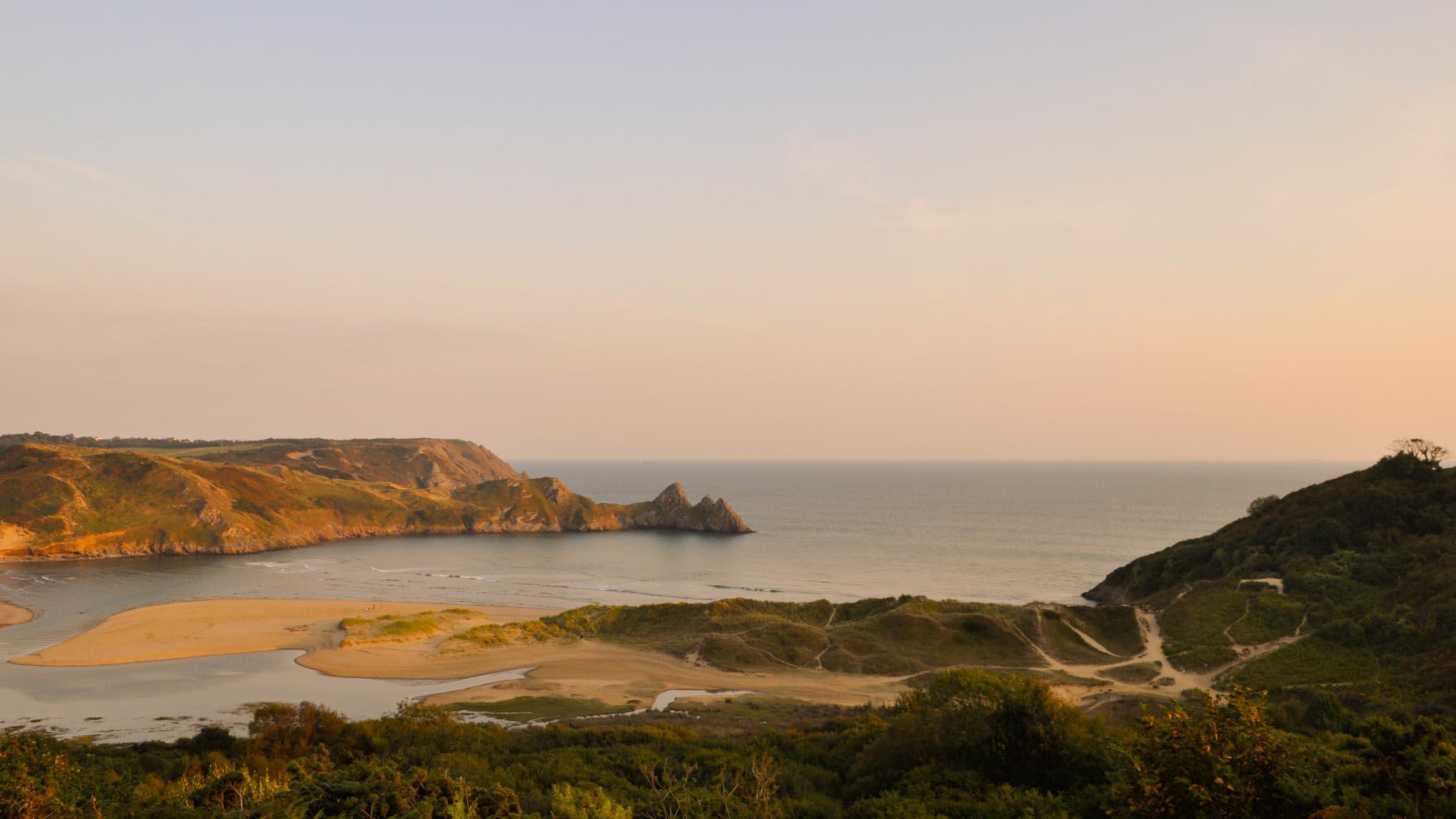 wales best beaches - three cliffs bay
