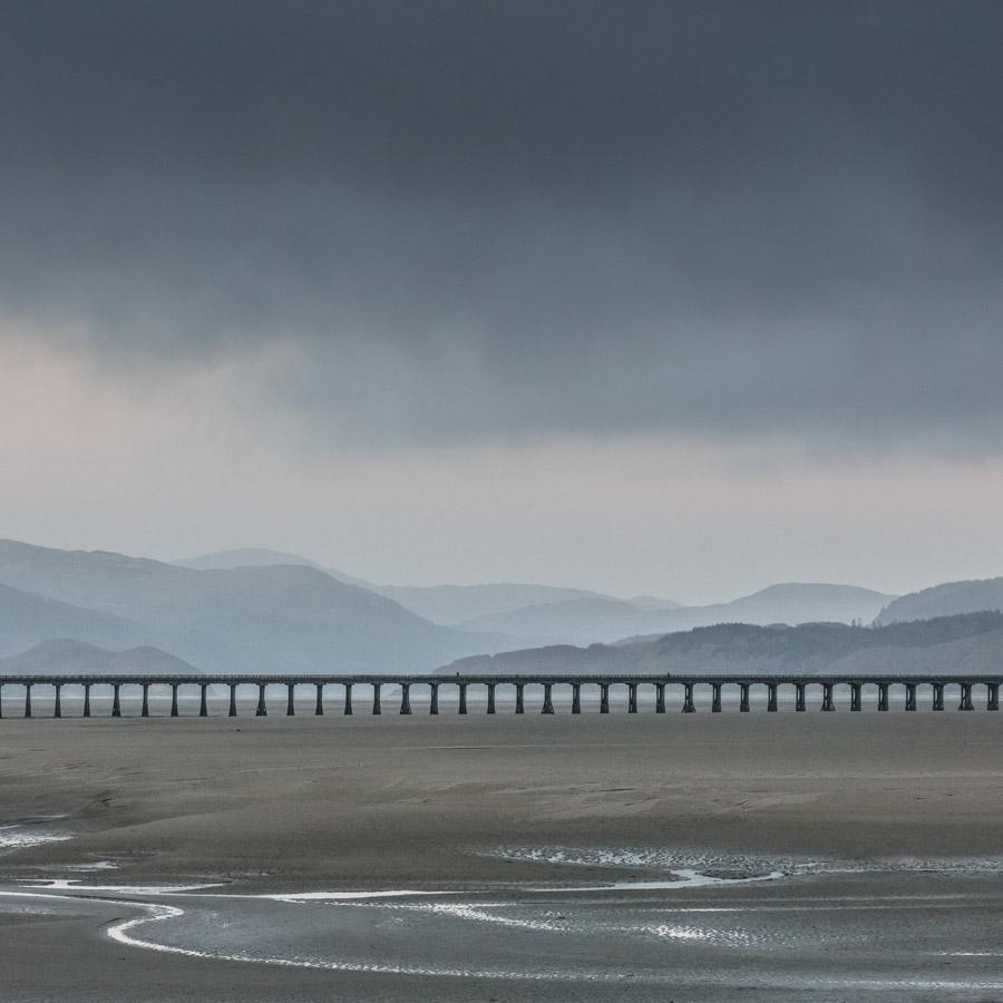 Barmouth Bridge at dusk, Mawddach Estuary, Gwynedd.