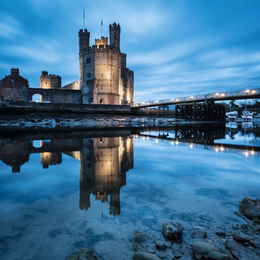 Caernarfon Castle built by Edward I in 1283, Caernarfon, Gwynedd.