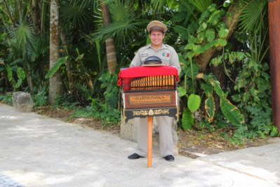 This organ grinder walks around the park and plays traditional mexican folk music