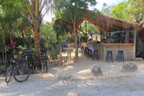 On the jungle side of Tulum Road is this popular restaurant serving mexican food with a mediterrian twist