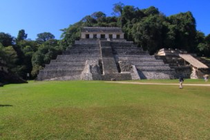 The stairway of the building leads to sanctuary that contains a series of stone panels carved with hieroglyphic inscriptions related to Palenque's history