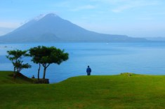 lake atitlan and volcano's in the distance