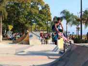There is a skateboard park on the malecon