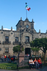 Entrance to the Palacio de Gobierno (state government headquarters) is an example of the colonial style architecture which is most prevalent in the city. It was completed in 1774 and has many columns, arches and murals inside.