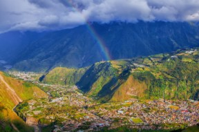 a rainbow over Banos