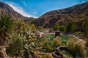 In the foothills of Mendoza there are the Cachueta hot water springs about an hour's drive from Mendoza.Here, you will find both an upper level of pools as well as the lower level in this photo.