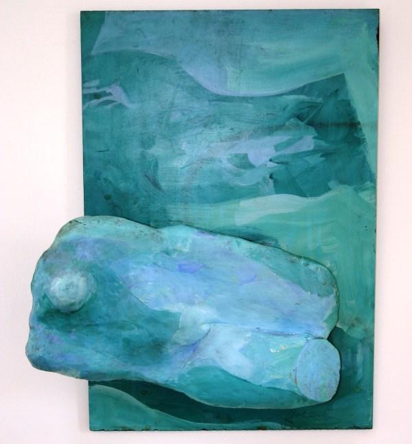 Swimmer (plaster on masonite)