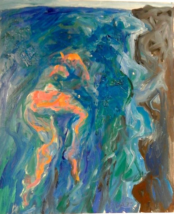 Swimmer by Rocky Shoreline