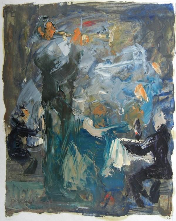 Trumpet Player in Café
