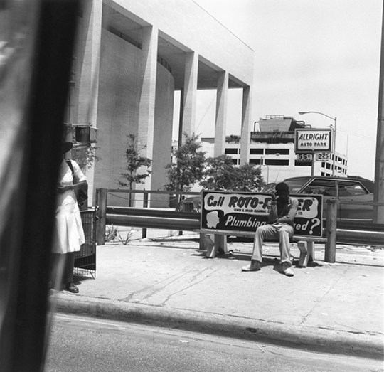 Bus Stop, from Car Window, Houston, Texas