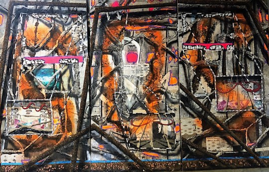 SOS Triptych With Stolen Basquiat Drawings