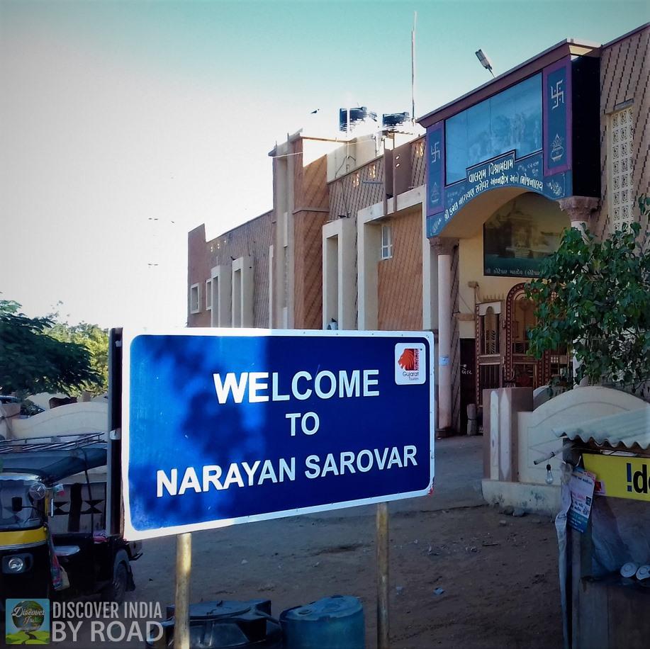 Welcome to Narayan Sarovar sign board at entrance