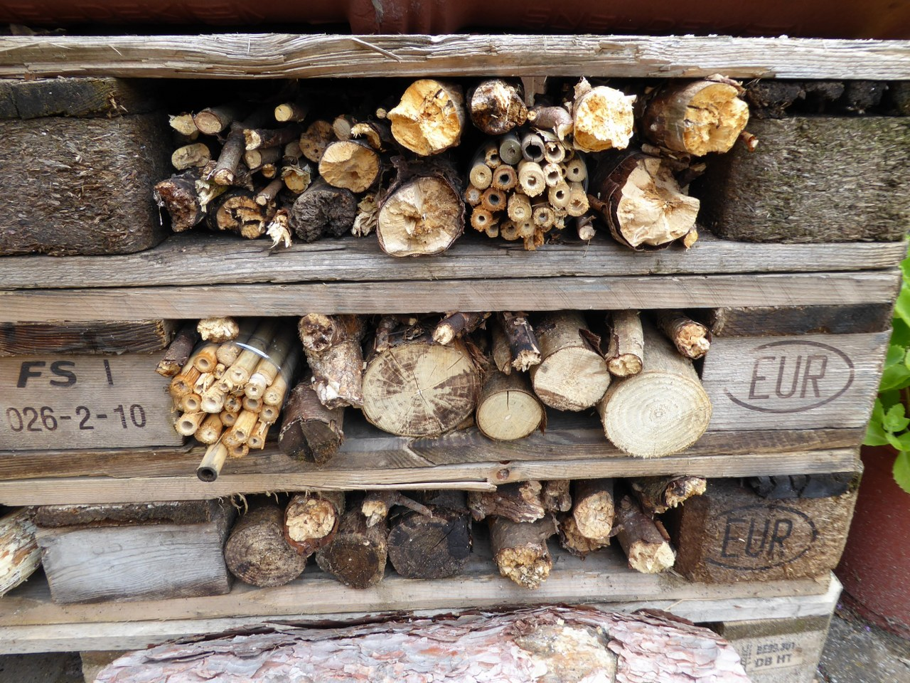 Children and adults can work together to build a bee hotel