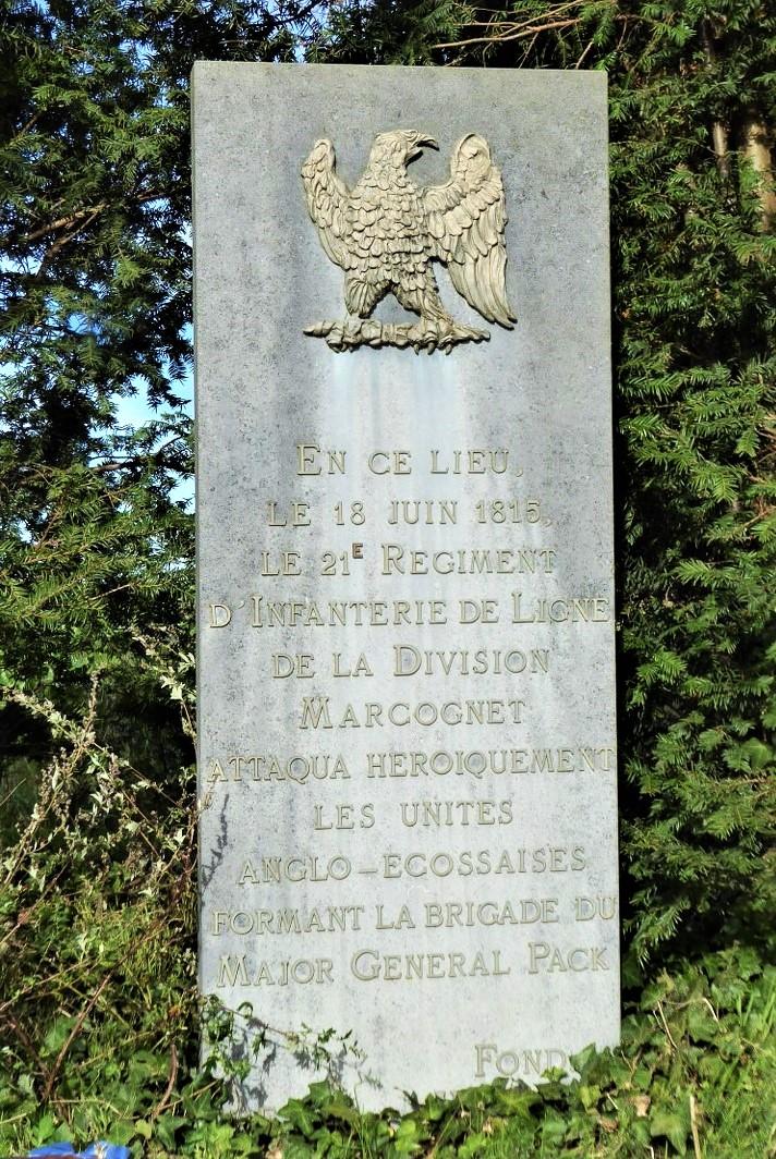 Memorial to the Marcognet Division. Waterloo Battlefield