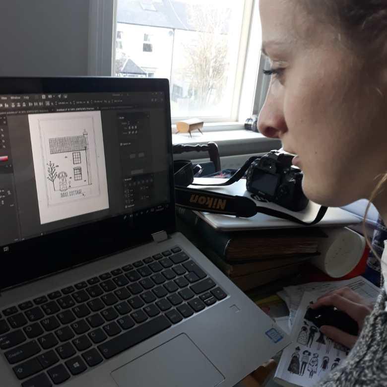 Designsbywm working on House Portrait