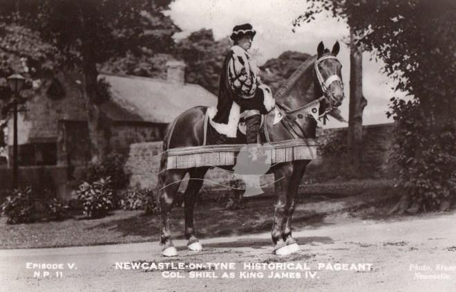 Copy of postcard showing Col Shiel as King Jmaes