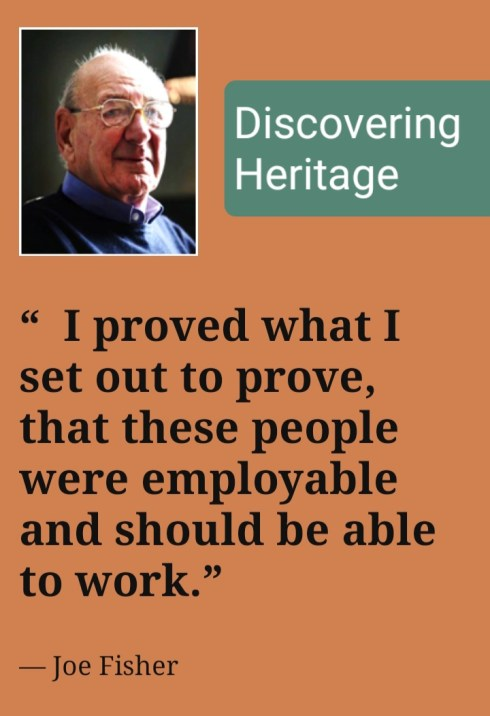 Discovering Heritage Joe Fisher header image and quote