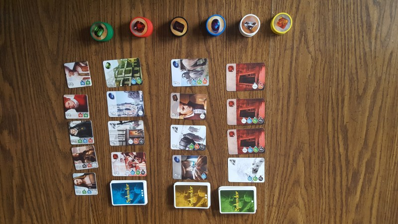 Game of Splendor set up on table