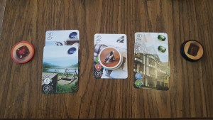 "Image of cards and chips in a players ""hand"" during the game of splendor"