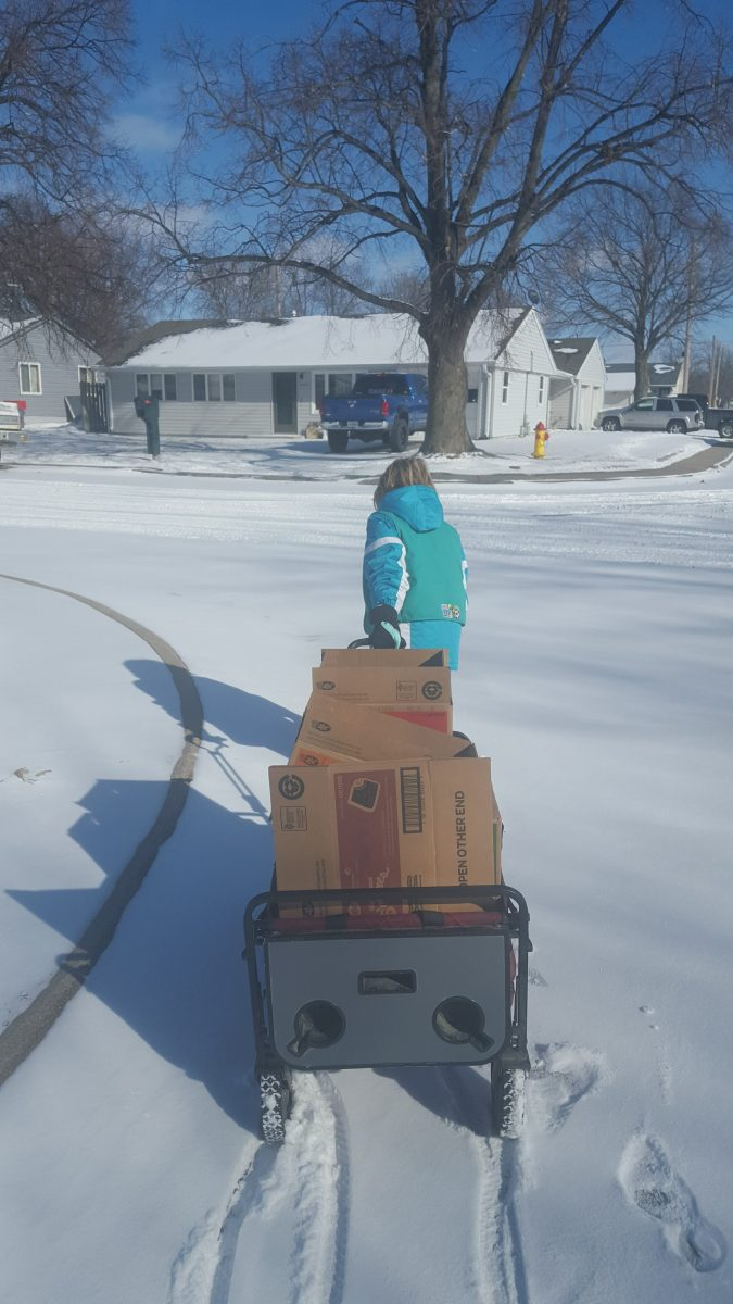 Selling girl scout cookies. Junior girl scout pulling wagon with cookies