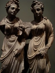 Aristocratic Gandhara women, 2nd century CE, Los Angeles County Museum of Art. The Hellenistic influence is clearly visible in this sculpture.