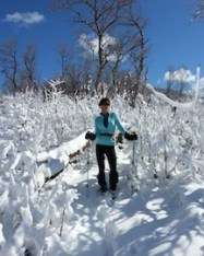 Laurie Hoer snow shoeing
