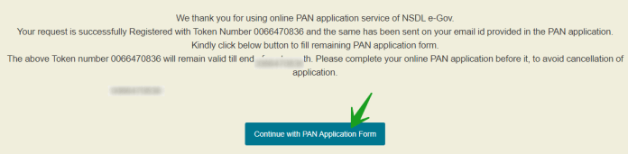 Continue to PAN Application form
