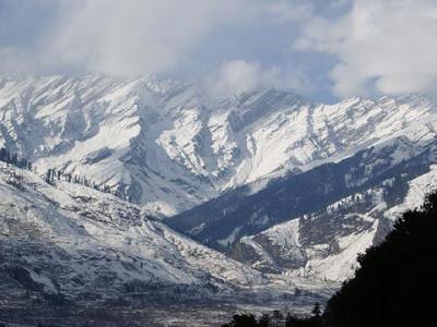 Snow-laden mountains