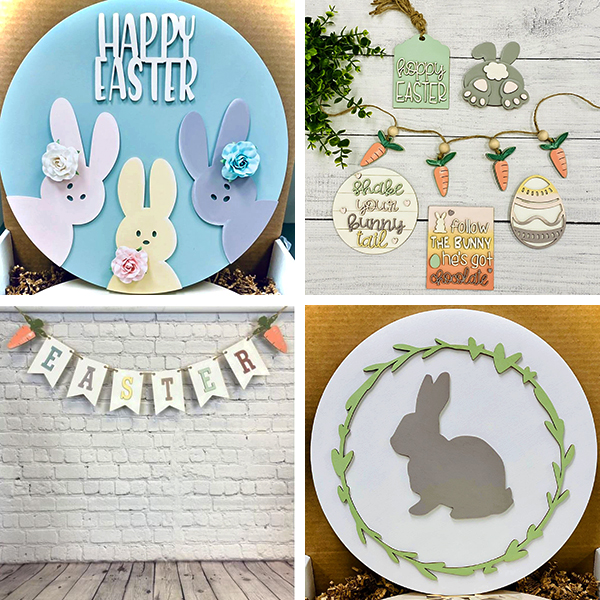 Clockwise from Top Left: Happy Easter Peeps Kit, Hoppy Easter Tiered Tray Kit, Easter Banner Kit, Spring Bunny Sign Kit (Photo Credits: Urban Whyte via FB)