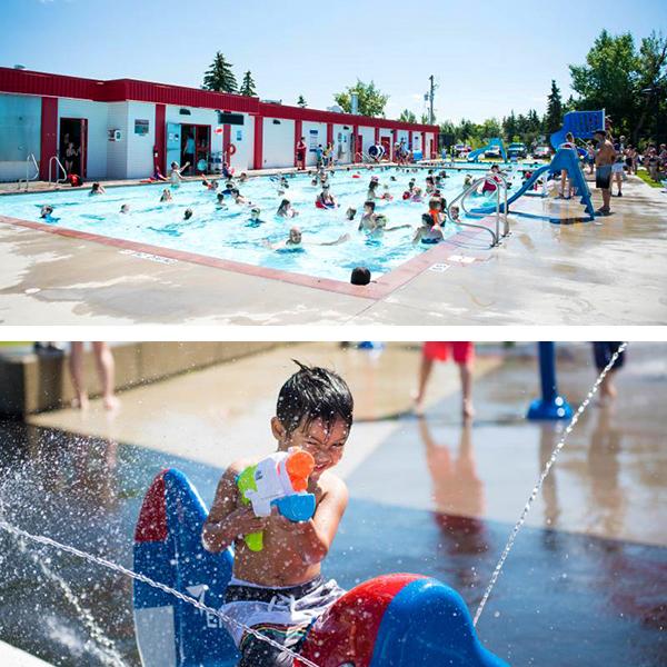 Top: Alexandra Outdoor Pool Bottom: Leduc Spray Park