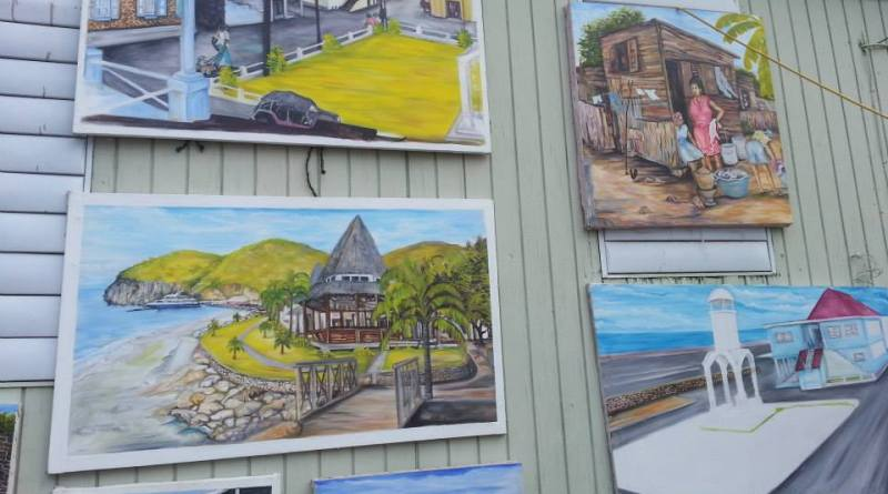 Artwork by Tabu on display at the Slave Feast. (Discover Montserrat Photo)