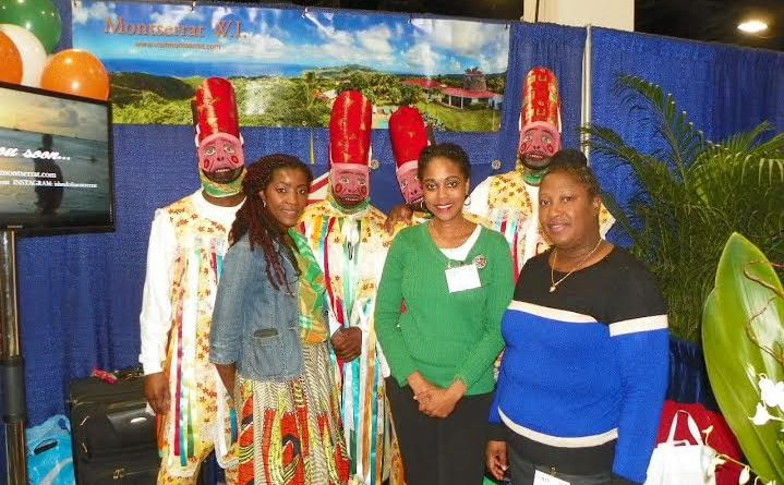 """From Left: Members of the Boston-based Diaspora, Montserrat Aspirers dressed as masquerade dancers, Jadine """"De Soca Diva"""" Greenway, CAMC Director of Client Development, Jennifer Johnson and Montserrat Tourism Division's Cherise Aymer, pictured at the Montserrat booth, during The Boston Globe Travel Show, 2016"""
