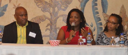 Strategist Nerissa Golden answers a question during the Q&A Panel at the end of Day one at LEAP: The SME Conference on Antigua.