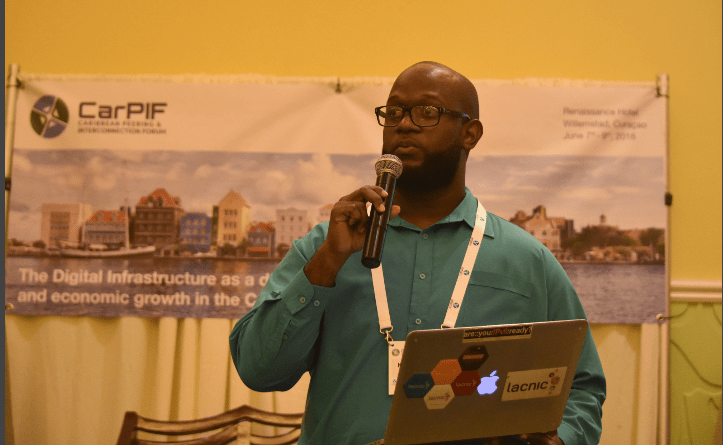 Kevon Swift, Head of Strategic Relations and Integration at LACNIC, makes a point at the second Caribbean Peering and Interconnection Forum, held at Renaissance Resort, Willemstad, Curacao, from June 7 to 10, 2016. PHOTO: GERARD BEST