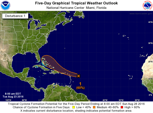 Tropical wave located a few hundred miles east of the Lesser Antilles has an elongated and poorly defined circulation.