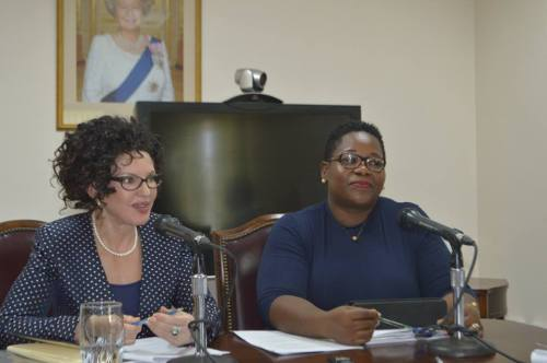 H.E. the Governor Elizabeth Carriere and Hon. Deputy Premier Delmaude Ryan at Friday, October 14, 2016 press conference on HR Reform.