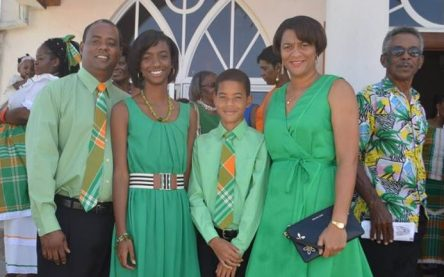 The Osbornes use the fabric for their outfits to attend the national St Patrick's Festival service at the Catholic Church.