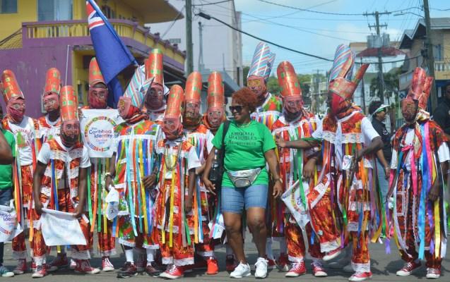 Montserrat Masquerades march through St. John's Antigua. Nia Golden Photo