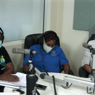 Ministry of Health Officials wearing face masks during their update on Friday morning at ZJB Radio. (screenshot)